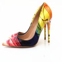 Euramerican neue gelb gestreiften Lack-Absatzschuhe modische sexy spitzen Kopf einzigen Schuh beiläufige Schuhgröße 33-45