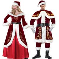 Conjunto completo para hombre y para mujer Disfraz de Papá Noel Deluxe de terciopelo Navidad Cosplay de fantasía Vestido elegante Princesa Reina Vestido largo
