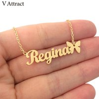 V Attract Nameplate Star Choker Gold Butterfly Colar Custom ...
