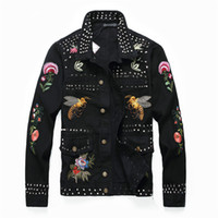 Punk Style New Design Autumn Denim Jacket Bird Bee Floral Em...