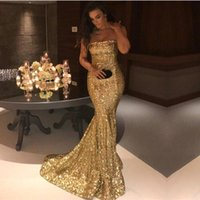 Bling Gold Sequins Mermaid Evening Dresses 2018 Strapless Sl...