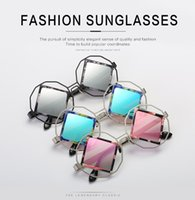 Large square frame sunglasses Women Brand Designer Fashion S...