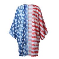 Moda Feminina Roupas Cor Misturada Casual Bandeira Nacional Dos Estados Unidos Impresso Cardigan Tops de Verão Feminino Tees Sem Botões de Tamanho Livre