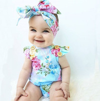 Floral Do Bebê Meninas Romper 2018 Nova Flwer Impresso Plissado Manga Mosca Criança Onesie Moda Verão Infantil Bodysuit INS Menina Macacão C3271