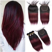 Ombre Bourgogne Tissage de Cheveux Humains Vierge avec Fermeture Droite 1B / 99J Vin Rouge Deux Tons Ombre 4x4 Dentelle Fermeture avec 3 Offres Bundle