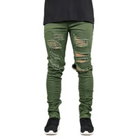 Men Jeans Fashion Stretch Slim Fit Ripped Jeans Army Green H...
