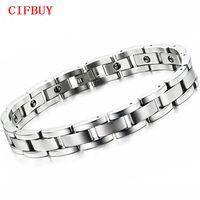 Balance de Energía de acero inoxidable clásico imán joyería de la pulsera de piedra hombre del acoplamiento de cadenas Para hombres GS8012 Cuidado de la Salud