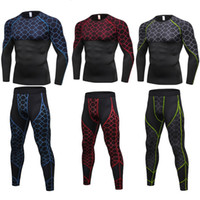 Men Compression Pants Shirt Top Long Sleeve Workout Set Tigh...