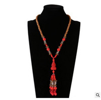 Jiasha профессиональные продажи дамы длинные популярные народный стиль Женская мода ювелирные изделия киноварь ожерелье