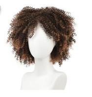 جودة عالية الاصطناعية قصيرة باروكات Omber شقراء مجعد الباروكات للنساء السود ارتفاع درجة الحرارة الألياف اسود الشعر