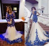 2019 magnifique bleu royal et blanc sirène Robes de bal Illusion manches longues Tulle Dentelle Arabie Appliques Arabe Plus Size Robes de soirée