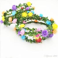 Kadın Çiçekler Çiçek Taç Gelin Şapkalar Çelenk Düğün Romantik Gül Renkli Nedime Saç Aksesuarları Ile Yaprak Stil 1 54cs ZZ