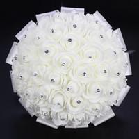 2018 Ramo de boda impresionante Crystal Artificial Boda Bouquets Accesorios de boda Flores Rose de Mariage Bouquet nupcial