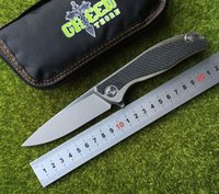 Green thorn 95 CD Flipper folding knife M390 blade TC4 Titan...