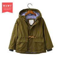 Wxwt осень-весна дети длинная куртка мальчики верхняя одежда пальто армия зеленый активный мальчик ветровка спортивный костюм для детей Дети