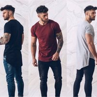 Mens Casual Tshirts Front Short Back Long Irregular Tees Sol...