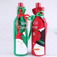 Muñeco de nieve Bolsas de botellas de vino Tema de Navidad Decoraciones de mesa Artículos Botellas de agua de moda Cubierta Práctica Bolsa portátil 3 7hq ZZ