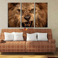 3 Panels Noframed Canvas Prints Lion Aminals Modern wall art...