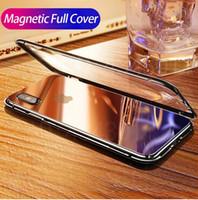 Магнит Абсорбция Металлический каркас из алюминиевого сплава Магнитные чехлы для телефонов для IPhone XS Max XR X 7 8 Plus Задняя крышка из закаленного стекла с защитой от царапин