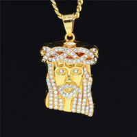 Upsign HIP Hop Iced Out Crystal JESUS Cristo pezzo testa faccia ciondoli collane catena d'oro per i gioielli degli uomini