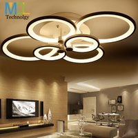 Rings white finished chandeliers LED circle modern chandelie...