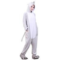 Adulto Onesie Mouse Animal de dibujos animados Pijama Unisex Hombres Mujeres Pijama Gris Mono de fiesta Suave Cálido Franela Divertido Vestido de invierno