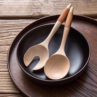 2 Piece Grande Colheres de madeira Faqueiro Madeira jantar salada servindo colher Set punho longo Fork Colher Utensílios de madeira Ferramentas da cozinha