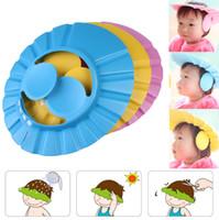 Einstellbare Bequem Baby Kind Kinder Ohr Shampoo Bad Duschhaube Hut Waschen Haar Ohr Schild Baby Badekappe Bad Mithelfer