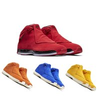 Men 18 18s Toro Basketball Sport Shoes Red Suede Yellow Oran...