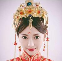 Çin düğün gelin headdress kostüm suit saç Coronet düğün süsler