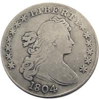 عملات الولايات المتحدة 1804 رايات تمثال نصفي النحاس حافة حافة الفضة مطلي الدولار نسخة عملة