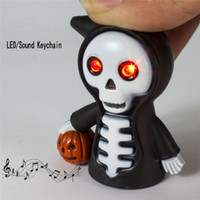 Halloween LED / Linterna de sonido Llaveros Death Skeleton Pumpkin Decor Party Accesorios de joyería Torch Scary Key Chain Keyring