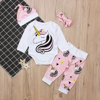 Baby Einhorn Outfits Kinder drucken Hut + Bogen Stirnband + Strampler + Hosen 4pcs / set Cartoon Mädchen passt 2018 Boutique Kinder Kleidung Sets