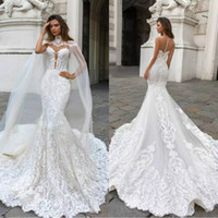 2019 Gorgeous Mermaid Lace Wedding Dresses With Cape Sheer P...