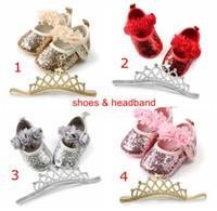 4Colors Детская обувь 2 шт. Установить младенческие цветы блестки ходячие туфли с повязкой Детей Paillette PU Обувь новорожденного Большой лук 0-2 год