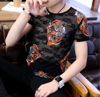 Sexy Homme T-shirts ras du cou été en coton respirant Noir See Through Tops Tee pour les hommes