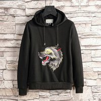 Wolf with LOGO Embroidered Cotton- Jersey Hoodie Fashion Ital...