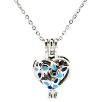 Srebrny Emalia Heart Butterfly Essential Oil Dyfuzor Medalion Kobiety Aromaterapia Koraliki Pearl Oyster Klatka Naszyjnik Wisiorek-Boutique Prezent