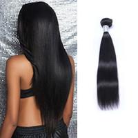 Hint bakire insan saç düz işlenmemiş remy saç örgüleri Çift atkı 100 g / paket boyalı olabilir ağartılmış saç uzantıları