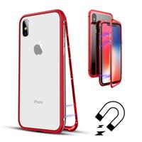 Магнитная адсорбция чехол для iPhone X 8 7 6 6S плюс Металл алюминиевая рама закаленное стекло мобильный телефон задняя крышка Магнит чехол 10 шт. / лот