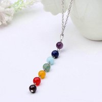 Fahsion pietra naturale perline collane del pendente 7 collana di perline di chakra Reiki guarigione gemme perline collana gioielli regalo di natale