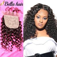 Bella Hair® İpek Baz Kapatma Julienchina Postiş 100 İşlenmemiş Brezilyalı Bakire İnsan Saç Kapatma Doğal Kıvırcık İpek Taban Üst Kapakları