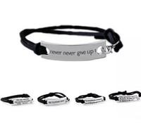 Citat Du är AMAZING Aldrig Ge aldrig upp Armband Brev ID Tag Armband Läder Manschetter för Kvinnor Barn Inspirerande Smycken