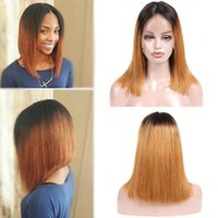 Ombre Lace Front Wigs Brazilian Straight Remy Human Hair Lac...