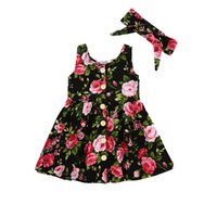 INS Girls Vintage Floral print Dress with Headband Sleeveles...