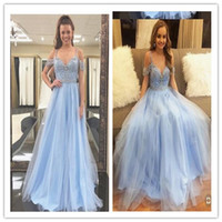 2019 Sky Blue Delicate Beaded prom dress Spaghetti Formal Lo...