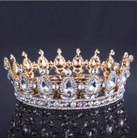 Luxury Vintage Gold Wedding Crown Alloy Bridal Tiara Baroque Queen King Crown gold color rhinestone tiara crown
