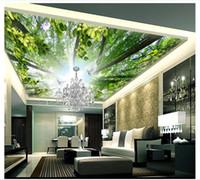 Personalizado Grande Teto Mural Papel De Parede 3D Estéreo HD Pomba Céu Céu Da Floresta Top Pintura paisagem Foto Mural de Teto decoração de Parede