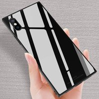 Square Tempered Glass Cases Soft TPU with Glass Full Protect...