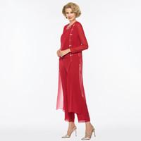 2018 년 fengyudress 신부 드레스 바지 정장 시가 긴 붉은 색 긴 어머니 Scoop 목 웨딩 파티 신부 드레스의 어머니